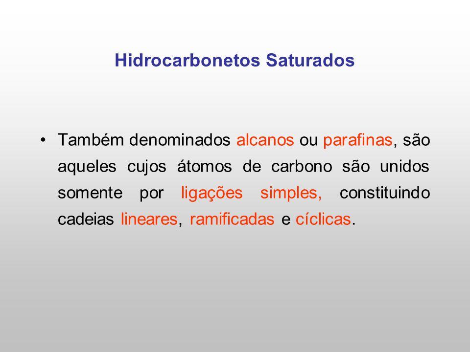 Hidrocarbonetos Saturados Também denominados alcanos ou parafinas, são aqueles cujos átomos de carbono são unidos somente por ligações simples, constituindo cadeias lineares, ramificadas e cíclicas.