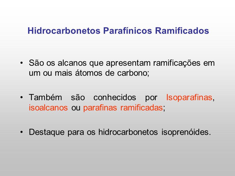 São os alcanos que apresentam ramificações em um ou mais átomos de carbono; Também são conhecidos por Isoparafinas, isoalcanos ou parafinas ramificadas; Destaque para os hidrocarbonetos isoprenóides.