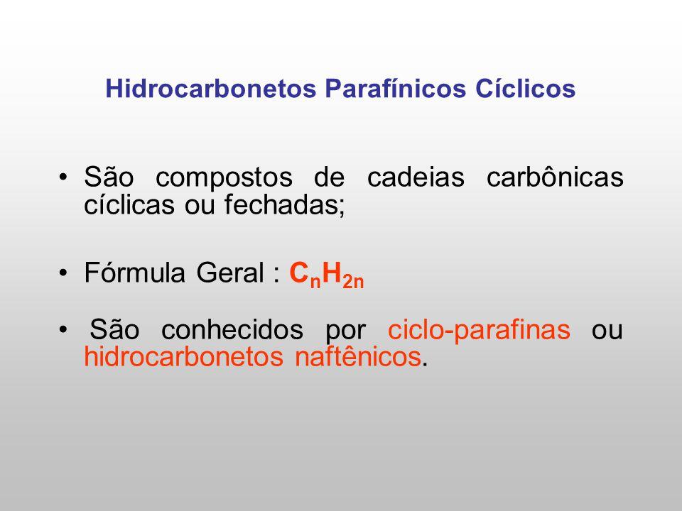 Hidrocarbonetos Parafínicos Cíclicos São compostos de cadeias carbônicas cíclicas ou fechadas; Fórmula Geral : C n H 2n São conhecidos por ciclo-paraf