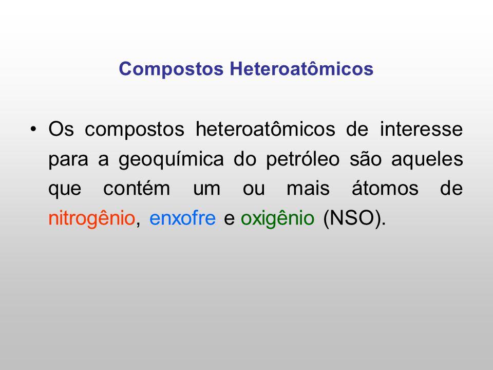 Compostos Heteroatômicos Os compostos heteroatômicos de interesse para a geoquímica do petróleo são aqueles que contém um ou mais átomos de nitrogênio, enxofre e oxigênio (NSO).