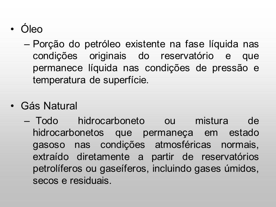 Óleo –Porção do petróleo existente na fase líquida nas condições originais do reservatório e que permanece líquida nas condições de pressão e temperat