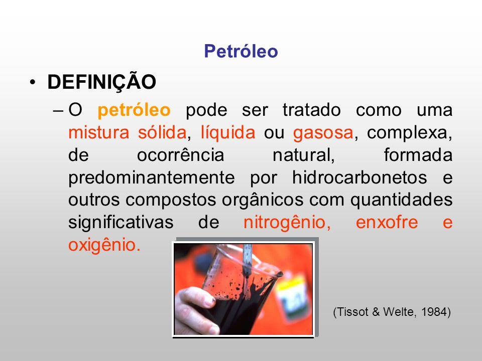 DEFINIÇÃO –O petróleo pode ser tratado como uma mistura sólida, líquida ou gasosa, complexa, de ocorrência natural, formada predominantemente por hidrocarbonetos e outros compostos orgânicos com quantidades significativas de nitrogênio, enxofre e oxigênio.