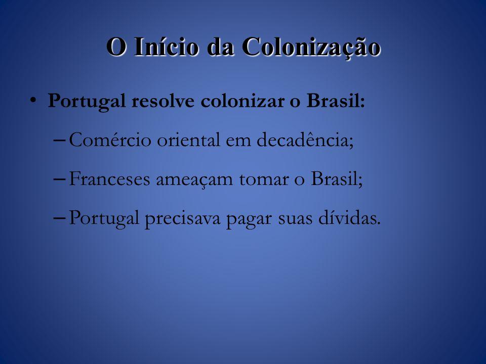 O Início da Colonização Portugal resolve colonizar o Brasil: – Comércio oriental em decadência; – Franceses ameaçam tomar o Brasil; – Portugal precisava pagar suas dívidas.