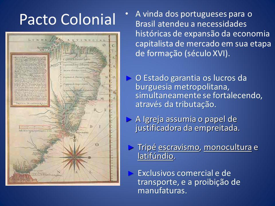 Pacto Colonial A vinda dos portugueses para o Brasil atendeu a necessidades históricas de expansão da economia capitalista de mercado em sua etapa de formação (século XVI).