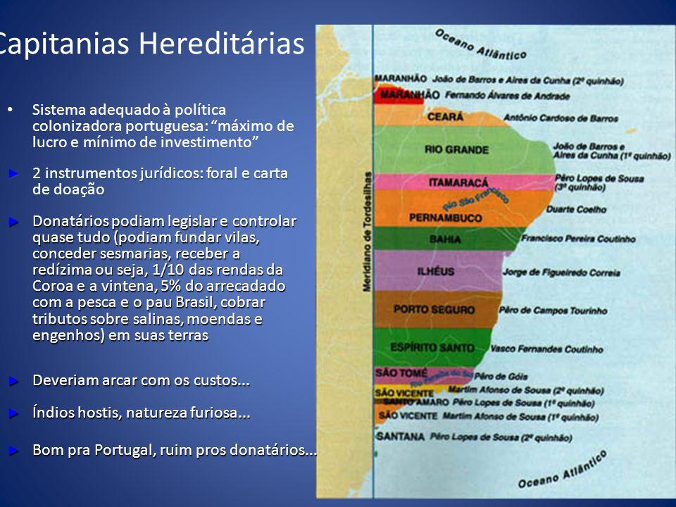 Capitanias Hereditárias Sistema adequado à política colonizadora portuguesa: máximo de lucro e mínimo de investimento 2 instrumentos jurídicos: foral