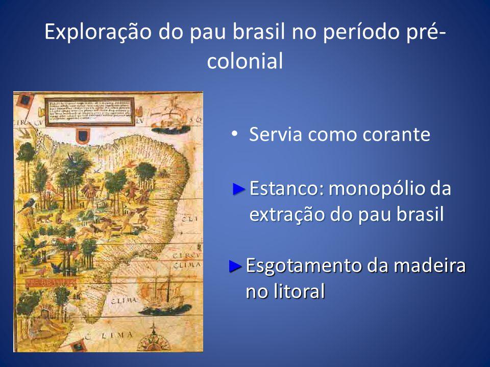 Exploração do pau brasil no período pré- colonial Servia como corante Estanco: monopólio da extração do pau brasil Estanco: monopólio da extração do p