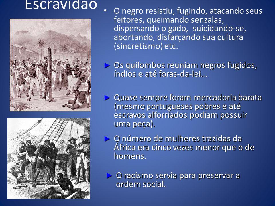 Escravidão O negro resistiu, fugindo, atacando seus feitores, queimando senzalas, dispersando o gado, suicidando-se, abortando, disfarçando sua cultura (sincretismo) etc.