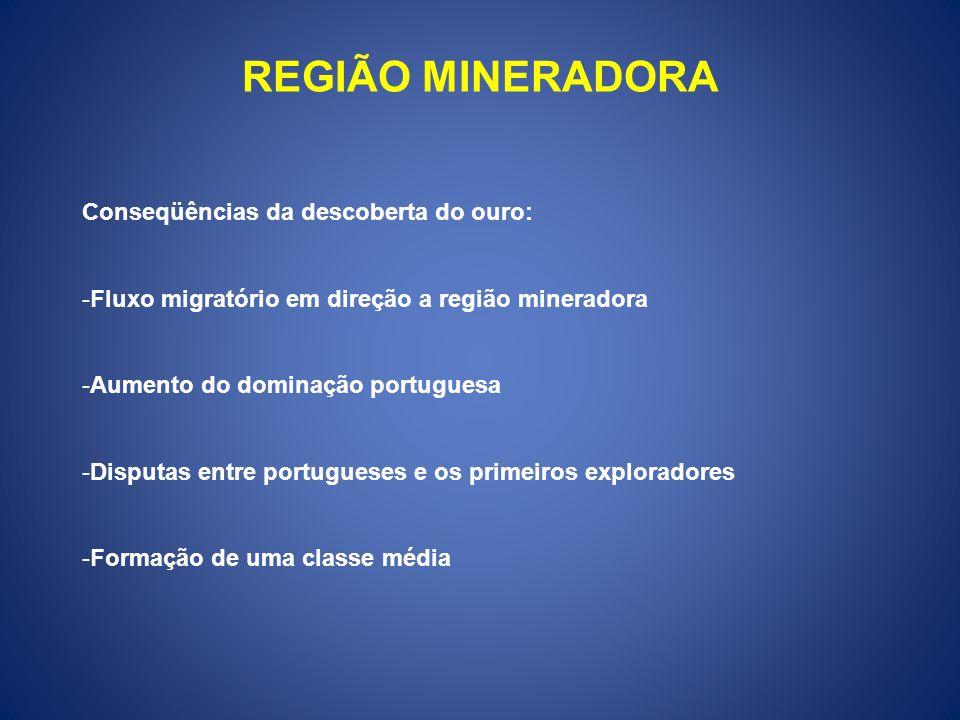 REGIÃO MINERADORA Conseqüências da descoberta do ouro: -Fluxo migratório em direção a região mineradora -Aumento do dominação portuguesa -Disputas entre portugueses e os primeiros exploradores -Formação de uma classe média