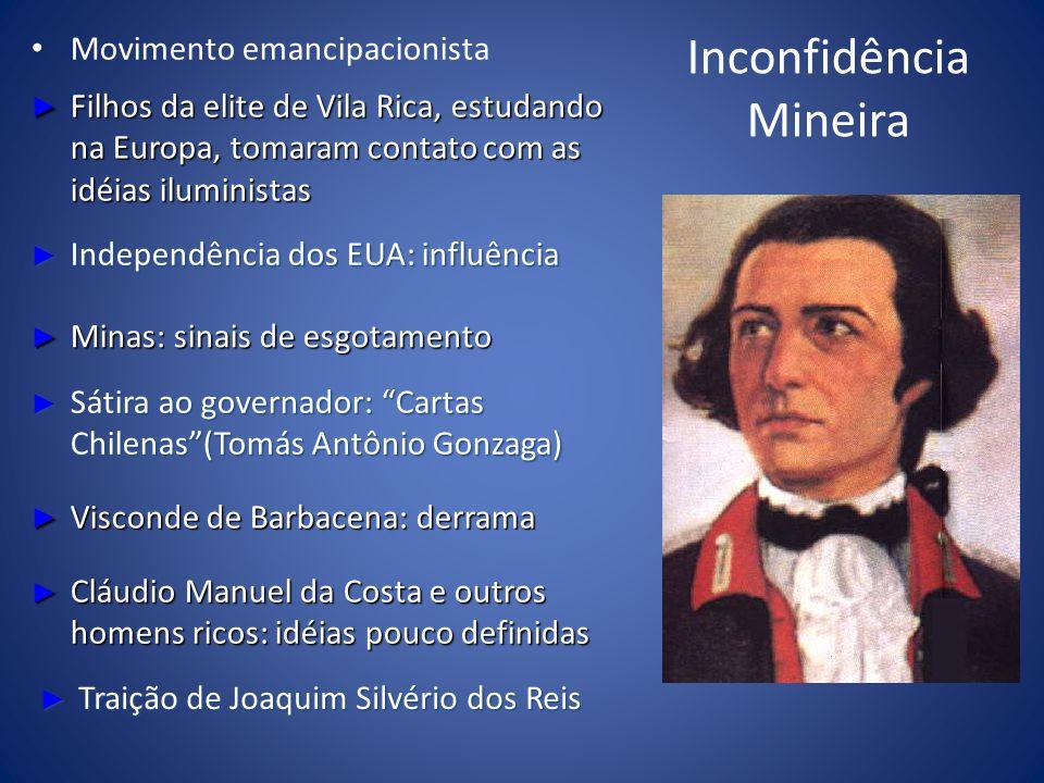 Inconfidência Mineira Movimento emancipacionista Filhos da elite de Vila Rica, estudando na Europa, tomaram contato com as idéias iluministas Filhos d