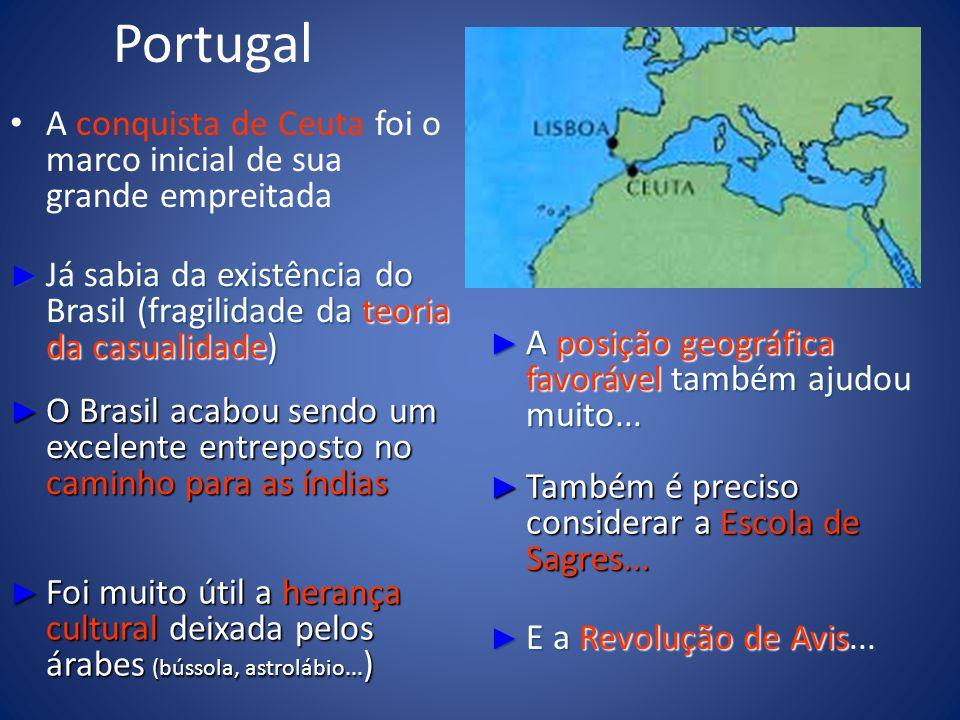 Portugal A conquista de Ceuta foi o marco inicial de sua grande empreitada Já sabia da existência do Brasil (fragilidade da teoria da casualidade) Já