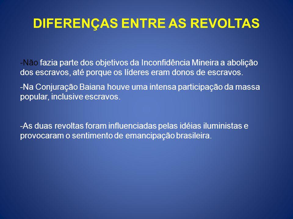 DIFERENÇAS ENTRE AS REVOLTAS -Não fazia parte dos objetivos da Inconfidência Mineira a abolição dos escravos, até porque os líderes eram donos de escr