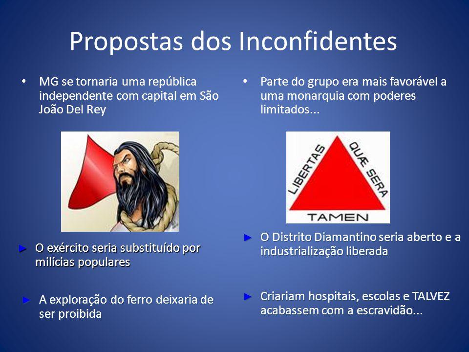 Propostas dos Inconfidentes MG se tornaria uma república independente com capital em São João Del Rey Parte do grupo era mais favorável a uma monarqui