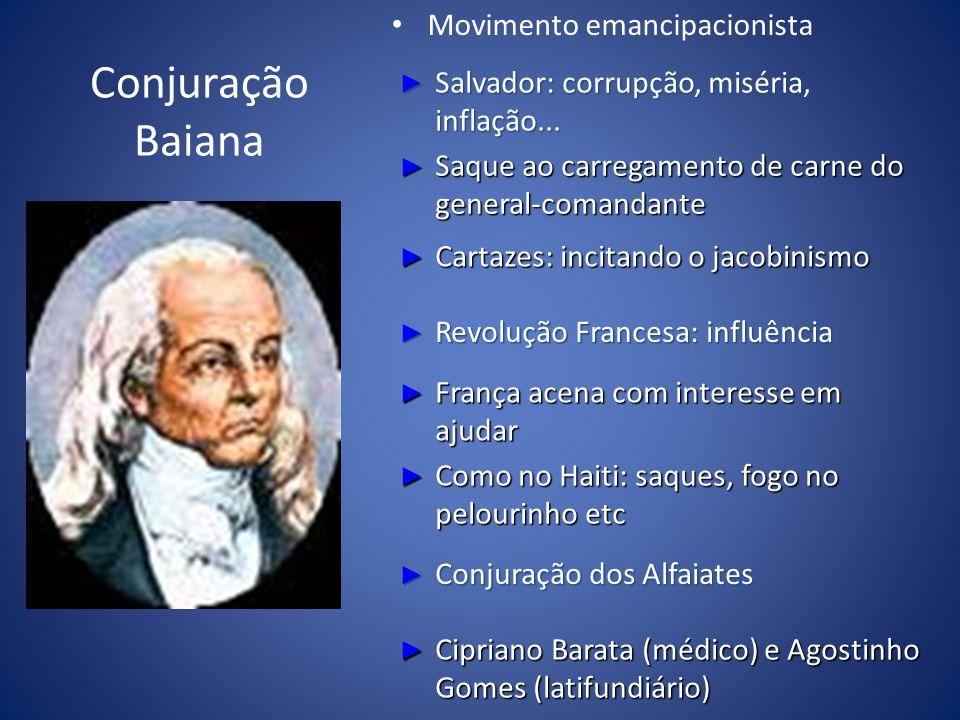 Conjuração Baiana Movimento emancipacionista Salvador: corrupção, miséria, inflação... Salvador: corrupção, miséria, inflação... Saque ao carregamento