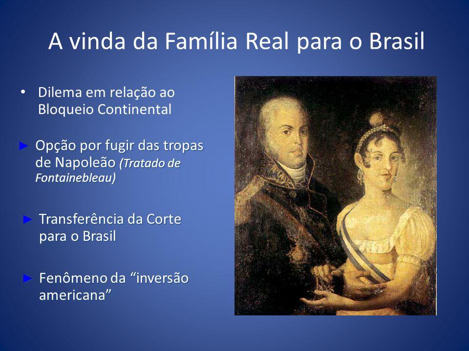 A vinda da Família Real para o Brasil Dilema em relação ao Bloqueio Continental Opção por fugir das tropas de Napoleão (Tratado de Fontainebleau) Opçã