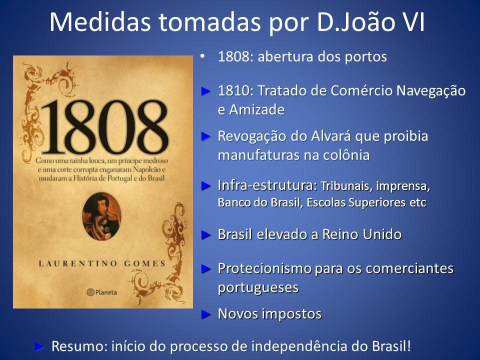 Medidas tomadas por D.João VI 1808: abertura dos portos 1810: Tratado de Comércio Navegação e Amizade 1810: Tratado de Comércio Navegação e Amizade Re