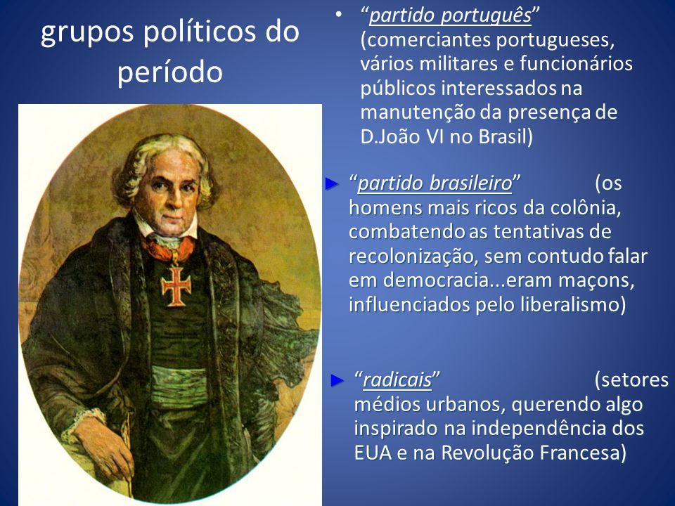 grupos políticos do período partido português (comerciantes portugueses, vários militares e funcionários públicos interessados na manutenção da presen