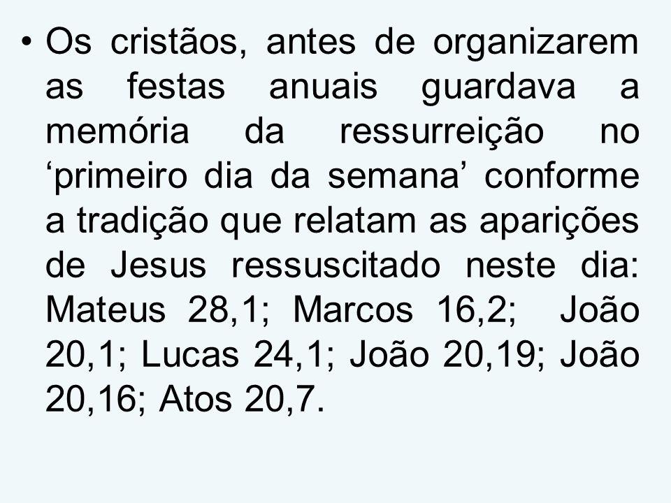 Os cristãos, antes de organizarem as festas anuais guardava a memória da ressurreição no primeiro dia da semana conforme a tradição que relatam as aparições de Jesus ressuscitado neste dia: Mateus 28,1; Marcos 16,2; João 20,1; Lucas 24,1; João 20,19; João 20,16; Atos 20,7.