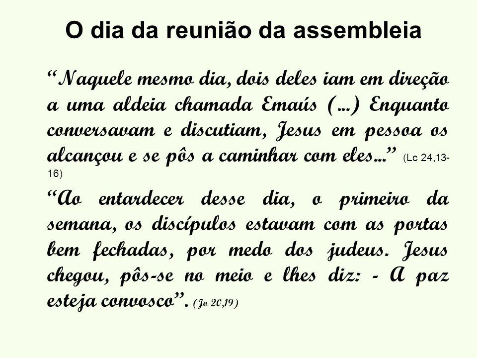 O dia da reunião da assembleia Naquele mesmo dia, dois deles iam em direção a uma aldeia chamada Emaús (...) Enquanto conversavam e discutiam, Jesus em pessoa os alcançou e se pôs a caminhar com eles...