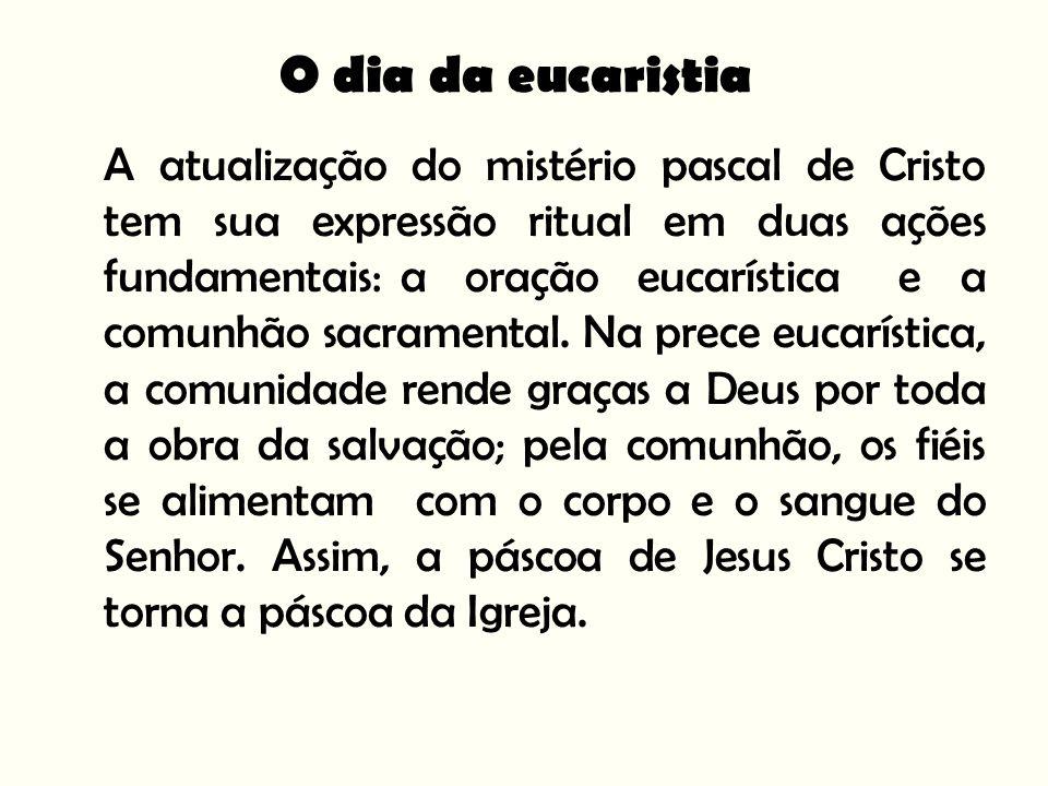 A atualização do mistério pascal de Cristo tem sua expressão ritual em duas ações fundamentais: a oração eucarística e a comunhão sacramental.
