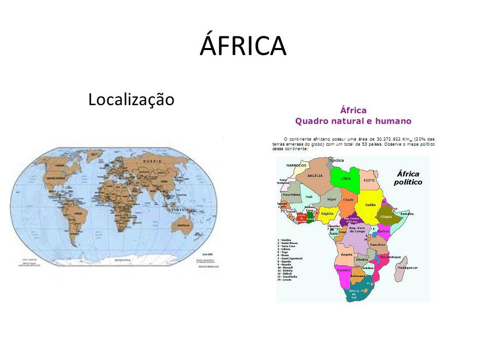 Posição Geográfica Possui um contorno maciço, com poucos recortes em seu litoral É o único continente a possuir terras nos quatro hemisférios: Ocidental e Oriental, Setentrional e Meridional Cercada de mares e oceanos, a África é um continente maciço, com uma costa pouco recortada, o que torna difícil o acesso ao interior, sendo raros os portos naturais