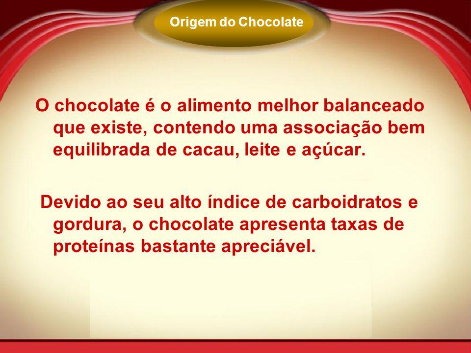 O chocolate é o alimento melhor balanceado que existe, contendo uma associação bem equilibrada de cacau, leite e açúcar. Devido ao seu alto índice de