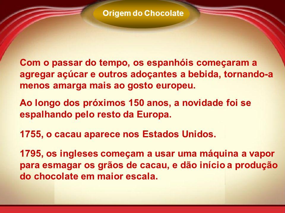 Com o passar do tempo, os espanhóis começaram a agregar açúcar e outros adoçantes a bebida, tornando-a menos amarga mais ao gosto europeu. Ao longo do