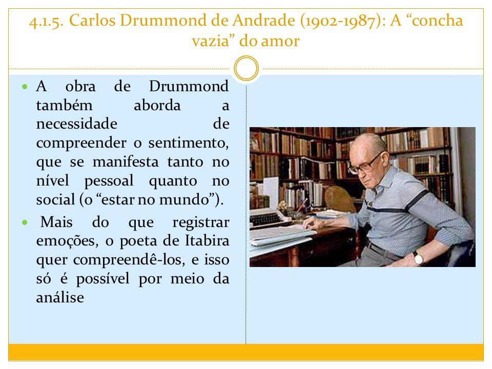 4.1.5. Carlos Drummond de Andrade (1902-1987): A concha vazia do amor A obra de Drummond também aborda a necessidade de compreender o sentimento, que