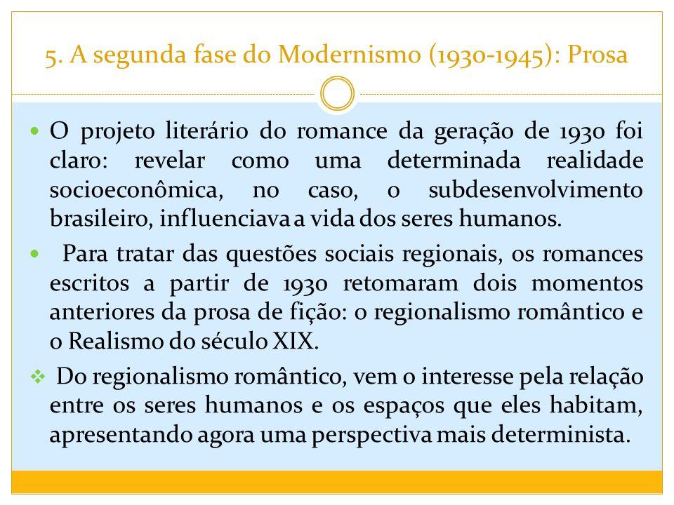 5. A segunda fase do Modernismo (1930-1945): Prosa O projeto literário do romance da geração de 1930 foi claro: revelar como uma determinada realidade