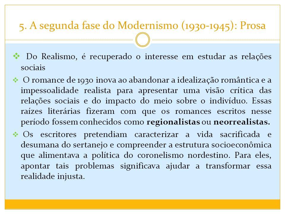 5. A segunda fase do Modernismo (1930-1945): Prosa Do Realismo, é recuperado o interesse em estudar as relações sociais O romance de 1930 inova ao aba