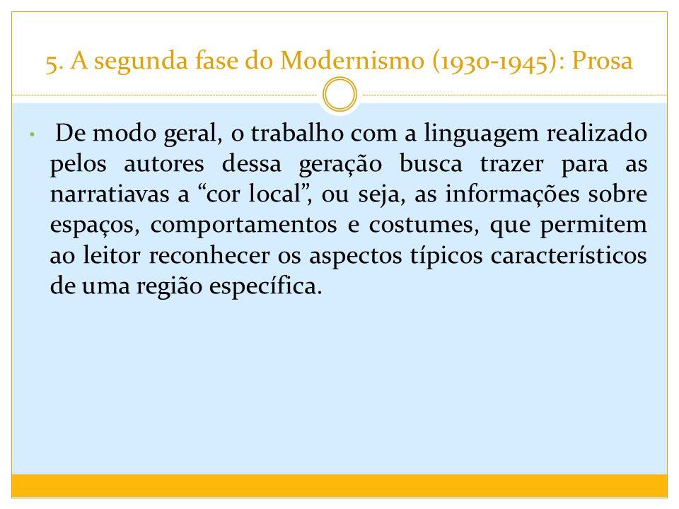 5. A segunda fase do Modernismo (1930-1945): Prosa De modo geral, o trabalho com a linguagem realizado pelos autores dessa geração busca trazer para a