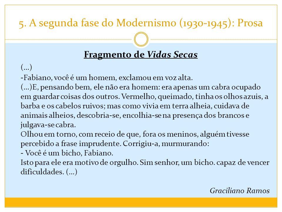 5. A segunda fase do Modernismo (1930-1945): Prosa Fragmento de Vidas Secas (…) -Fabiano, você é um homem, exclamou em voz alta. (…)E, pensando bem, e