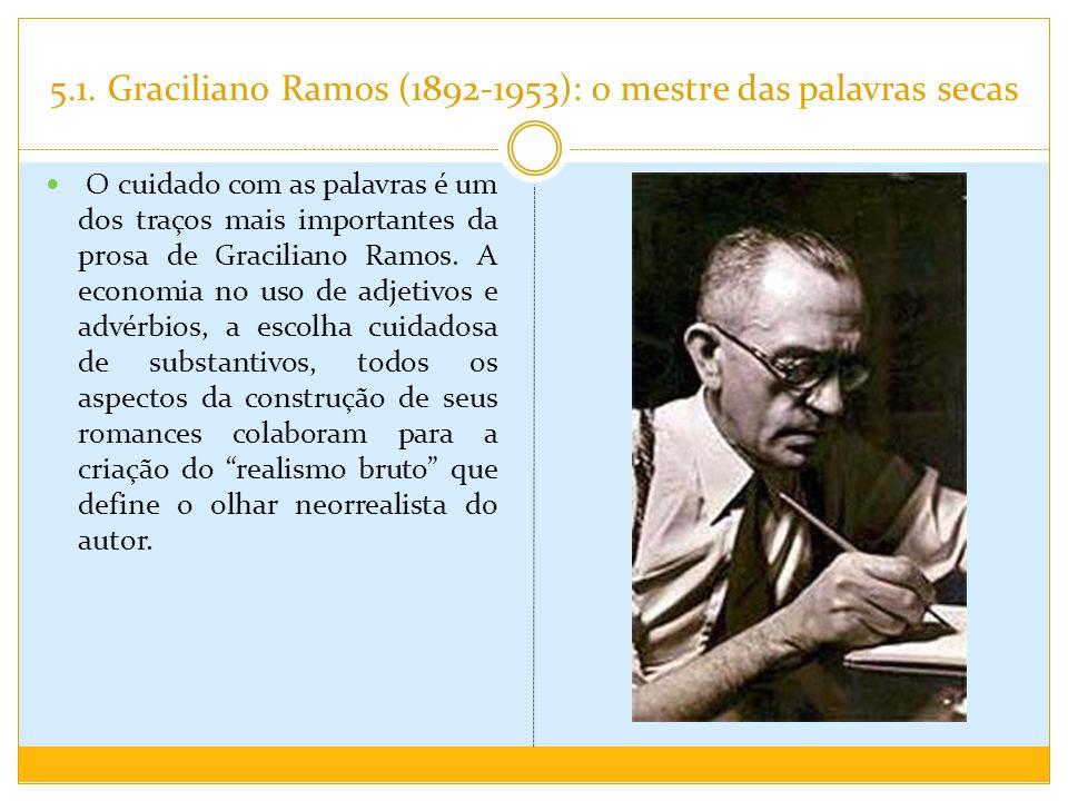 5.1. Graciliano Ramos (1892-1953): o mestre das palavras secas O cuidado com as palavras é um dos traços mais importantes da prosa de Graciliano Ramos