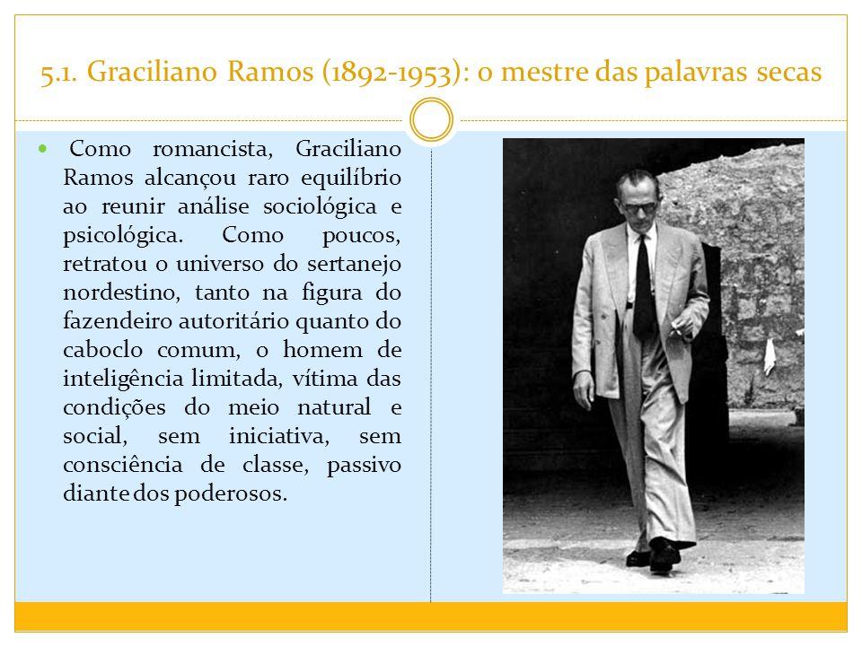 5.1. Graciliano Ramos (1892-1953): o mestre das palavras secas Como romancista, Graciliano Ramos alcançou raro equilíbrio ao reunir análise sociológic