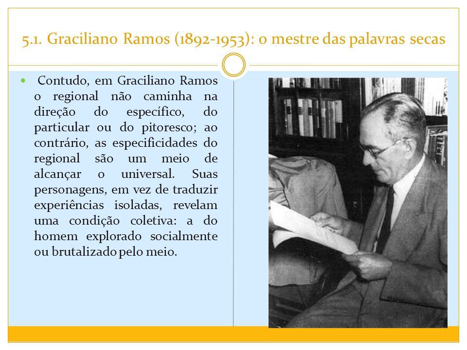 5.1. Graciliano Ramos (1892-1953): o mestre das palavras secas Contudo, em Graciliano Ramos o regional não caminha na direção do específico, do partic