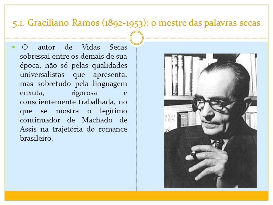5.1. Graciliano Ramos (1892-1953): o mestre das palavras secas O autor de Vidas Secas sobressai entre os demais de sua época, não só pelas qualidades