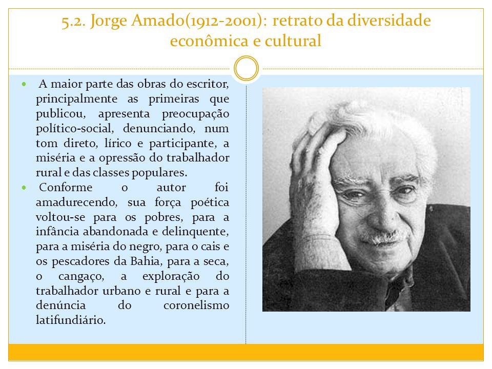 5.2. Jorge Amado(1912-2001): retrato da diversidade econômica e cultural A maior parte das obras do escritor, principalmente as primeiras que publicou