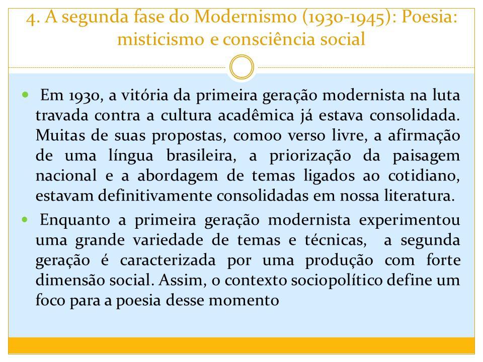 4. A segunda fase do Modernismo (1930-1945): Poesia: misticismo e consciência social Em 1930, a vitória da primeira geração modernista na luta travada