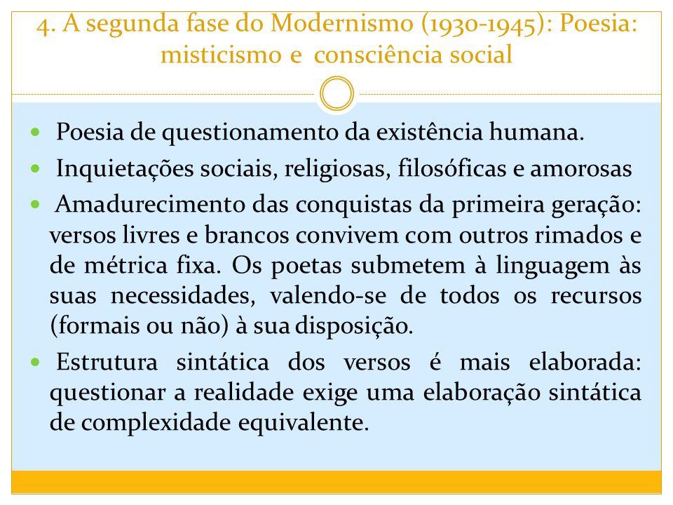 4. A segunda fase do Modernismo (1930-1945): Poesia: misticismo e consciência social Poesia de questionamento da existência humana. Inquietações socia