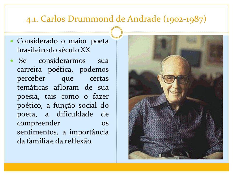 4.1. Carlos Drummond de Andrade (1902-1987) Considerado o maior poeta brasileiro do século XX Se considerarmos sua carreira poética, podemos perceber