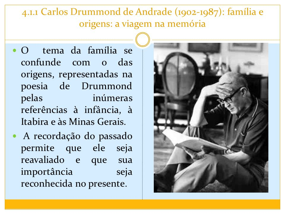 4.1.1 Carlos Drummond de Andrade (1902-1987): família e origens: a viagem na memória O tema da família se confunde com o das origens, representadas na poesia de Drummond pelas inúmeras referências à infância, à Itabira e às Minas Gerais.