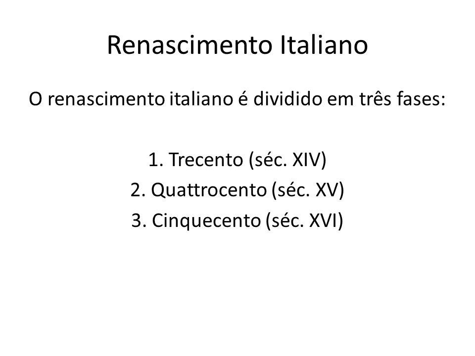 Renascimento Italiano O renascimento italiano é dividido em três fases: 1. Trecento (séc. XIV) 2. Quattrocento (séc. XV) 3. Cinquecento (séc. XVI)
