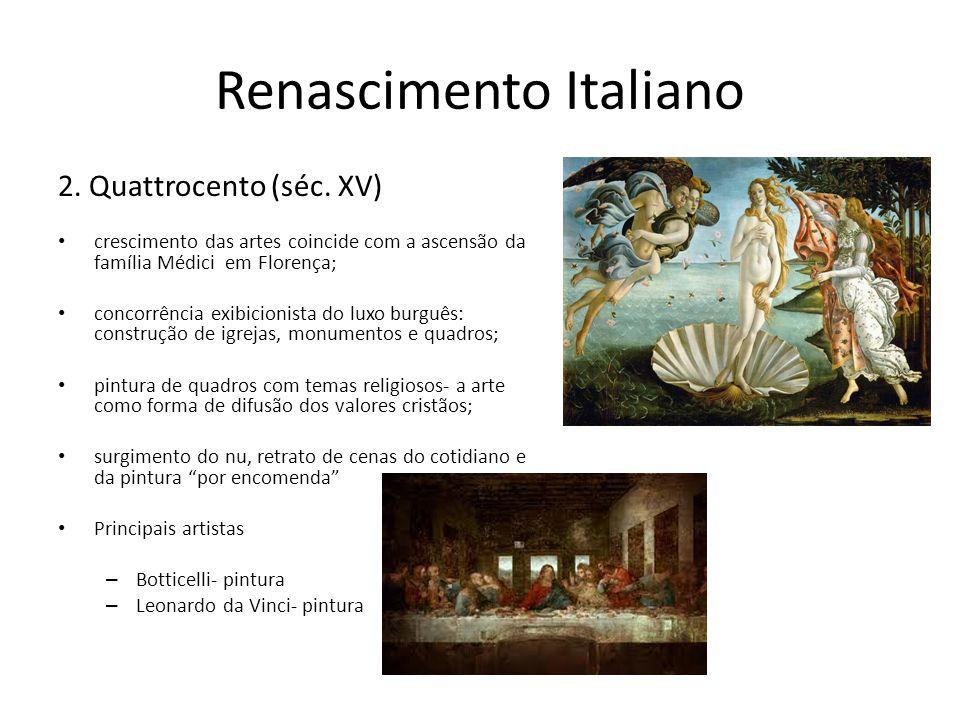 Renascimento Italiano 2. Quattrocento (séc. XV) crescimento das artes coincide com a ascensão da família Médici em Florença; concorrência exibicionist