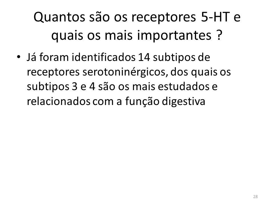 Quantos são os receptores 5-HT e quais os mais importantes .