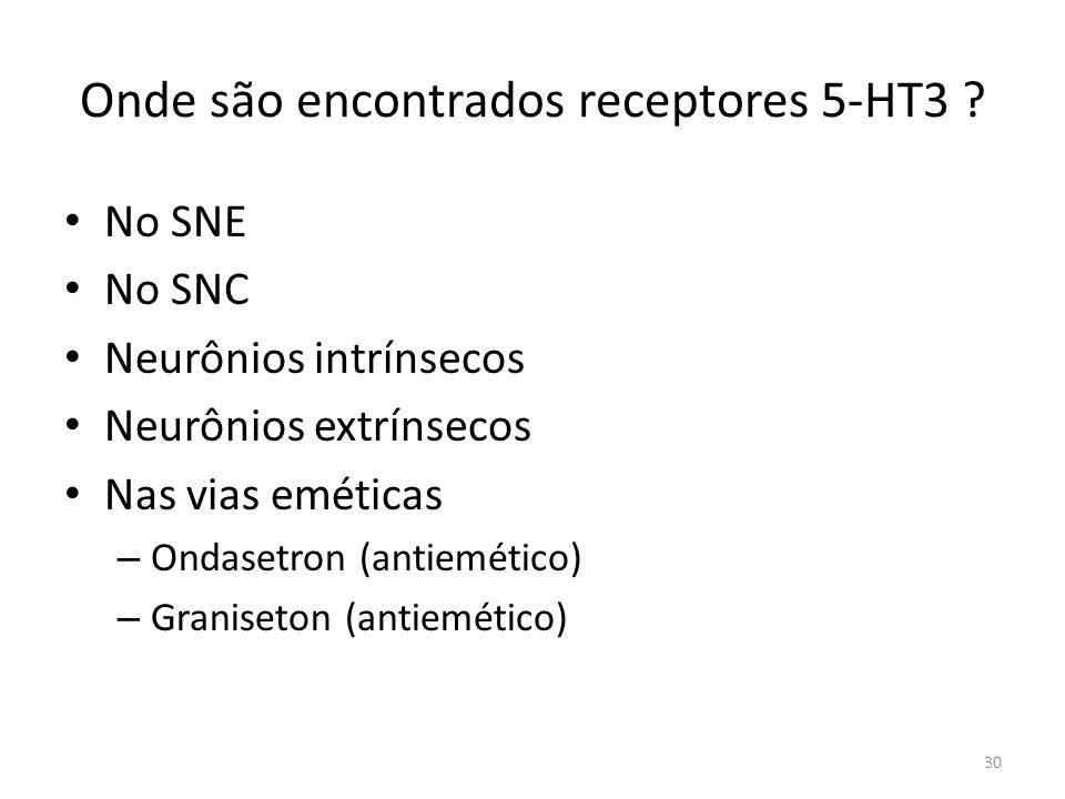 Onde são encontrados receptores 5-HT3 .