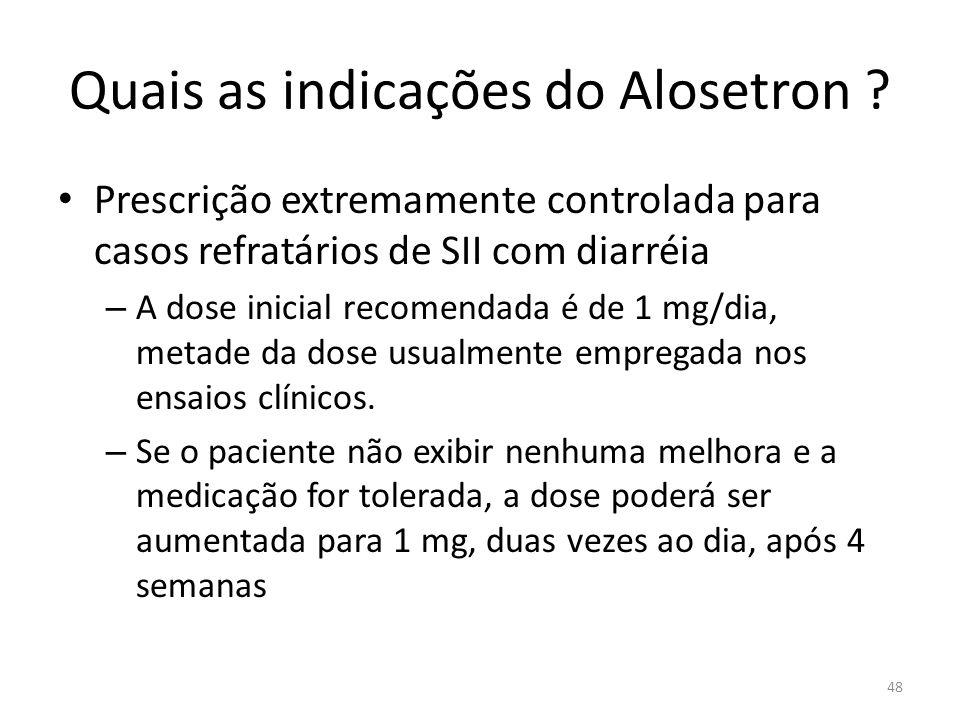 Quais as indicações do Alosetron .