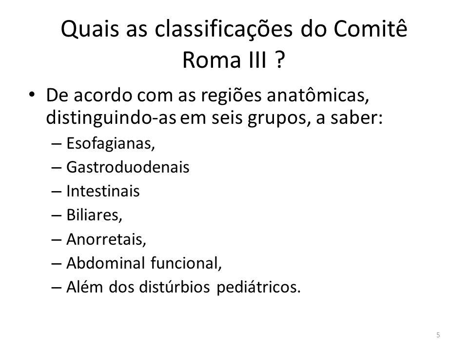 Quais as classificações do Comitê Roma III .