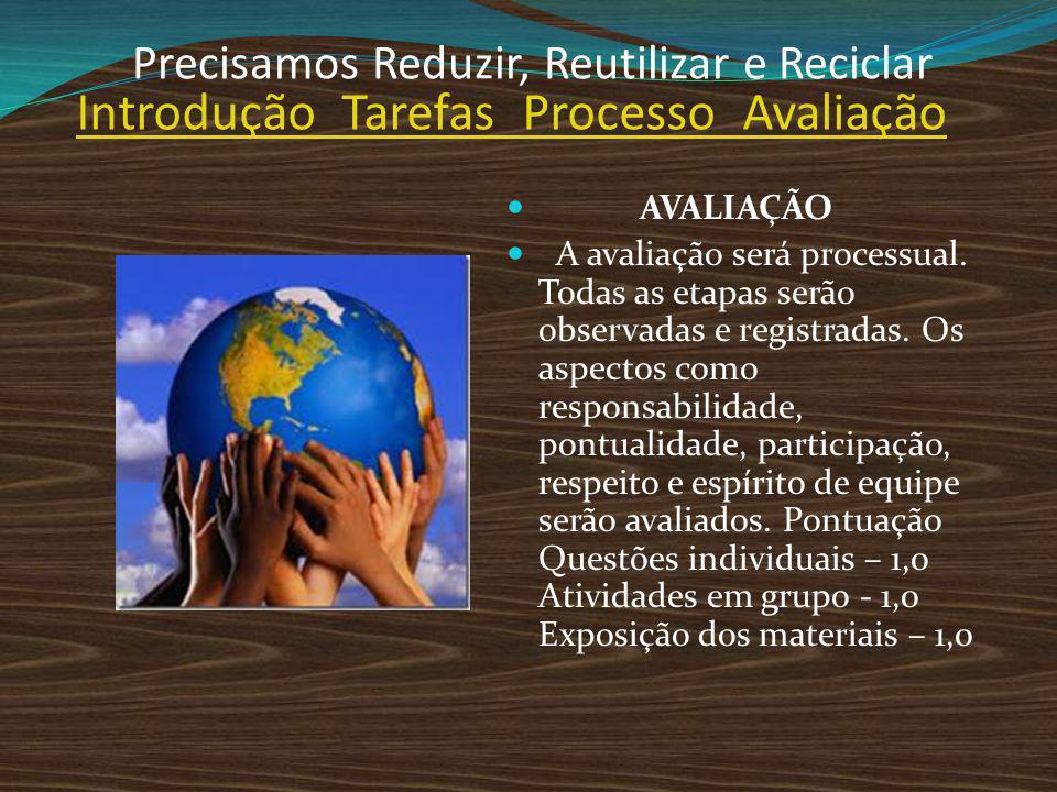 AVALIAÇÃO A avaliação será processual. Todas as etapas serão observadas e registradas. Os aspectos como responsabilidade, pontualidade, participação,