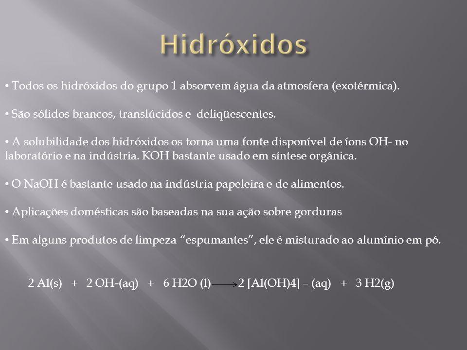 Todos os hidróxidos do grupo 1 absorvem água da atmosfera (exotérmica). São sólidos brancos, translúcidos e deliqüescentes. A solubilidade dos hidróxi