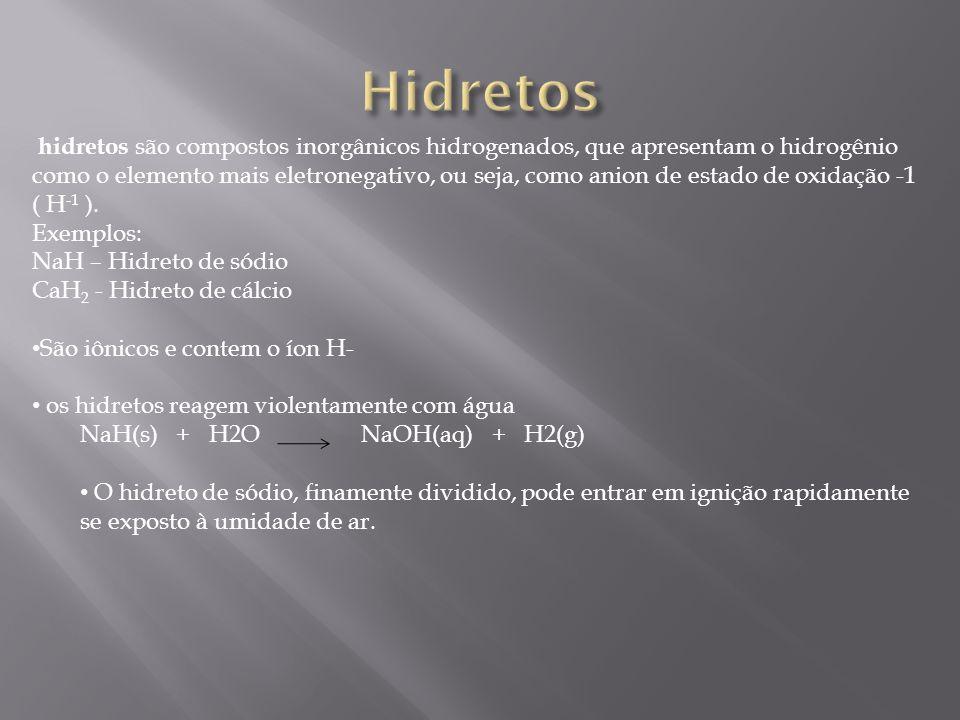 hidretos são compostos inorgânicos hidrogenados, que apresentam o hidrogênio como o elemento mais eletronegativo, ou seja, como anion de estado de oxi