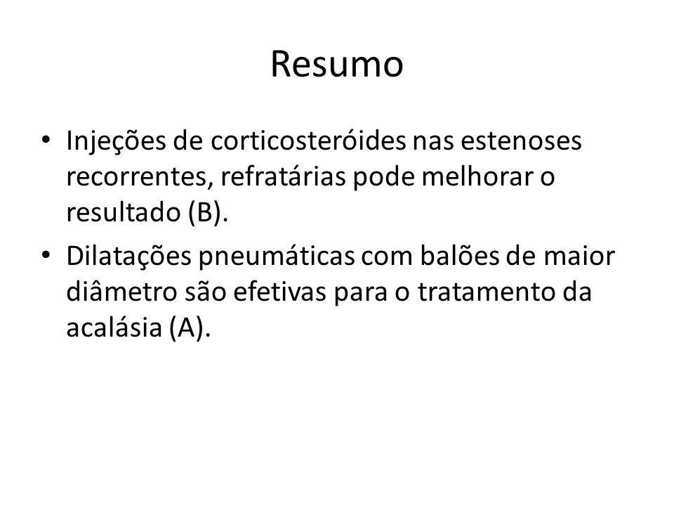 Resumo Injeções de corticosteróides nas estenoses recorrentes, refratárias pode melhorar o resultado (B). Dilatações pneumáticas com balões de maior d